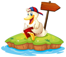 A duck reading beside the empty arrowboard