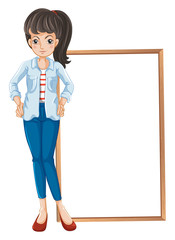 A girl standing with a blankboard at the back