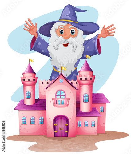 A pink castle with a wizard at the back