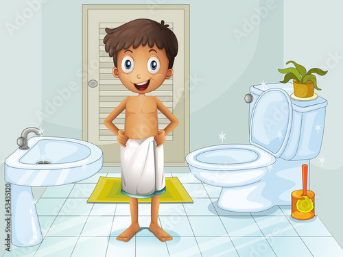 A boy in the toilet