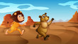A lion and a bear running
