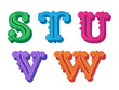 Doodle of colorful Antiqua alphabet letters
