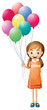 A girl holding eight colorful balloons