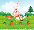 A rabbit holding a carrot at the garden