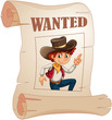 A poster of a wanted young cowboy