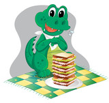 A hungry crocodile in front of a big pile of sandwich