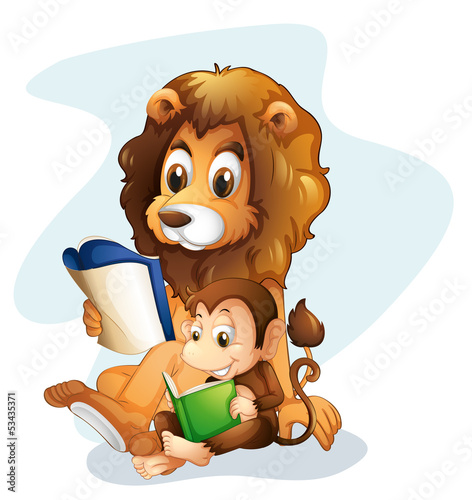 A monkey and a lion reading books