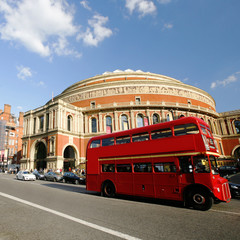 London Routemaster Bus passing by Royal Albert Hall