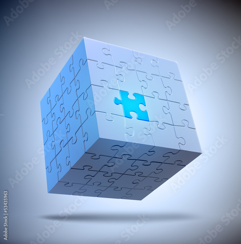 Cube shaped puzzle - problem solving concept