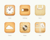 wooden and paper icons app set