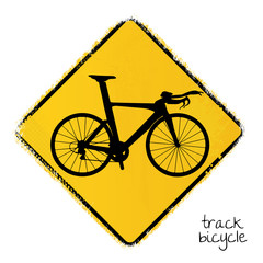 warning road sign with a truck bicycle