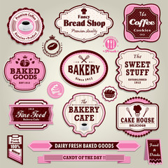Vintage frame cupcake,bakery, bread, sandwich label set