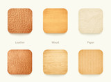 set of paper wood and leather app icons