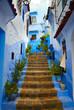 Leinwandbild Motiv Inside of moroccan blue town Chefchaouen medina