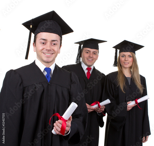 One graduate leading two others, isolated on white
