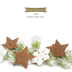 Christmas background with decoration on white