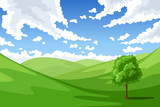 Summer landscape. Vector illustration.