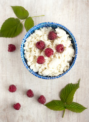 cottage cheese with raspberrys, top view