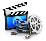Fototapety Clapper board and film reel with filmstrip