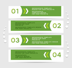 Infographics design with green numbered banners