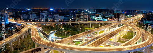Chengdu, China, city overpass at night