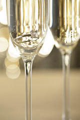 Champagne glasses with engagement Jewelry