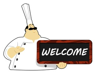 Chef with Welcome board