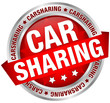 "Button Banner ""Carsharing"" rot/silber"