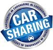 """Button Banner """"Carsharing"""" Auto blau/silber"""