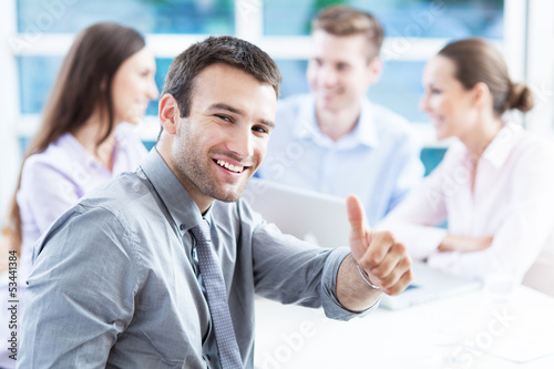 canvas print picture Businessman showing thumbs up