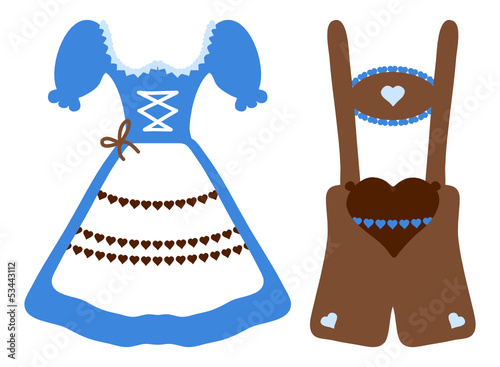 Octoberfest Dirndl & Leather Trousers Blue