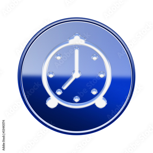 alarm clock icon glossy blue, isolated on white background