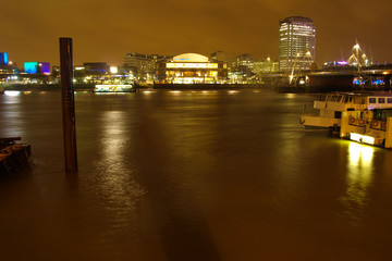 Night view of London South Bank