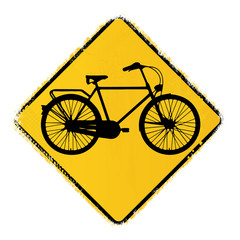 warning road sign with a classic bike