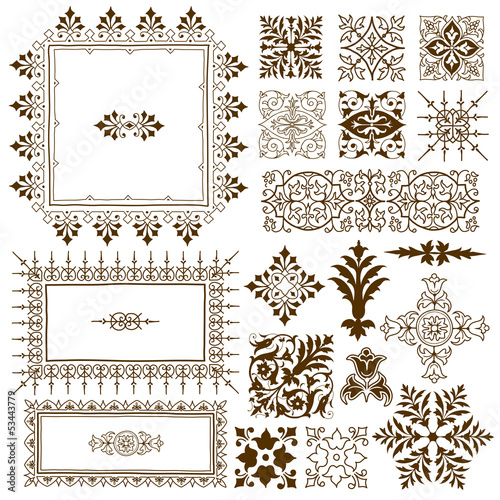 Decorative calligraphic ornate design elements