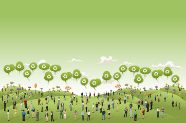 Business people on Green hills landscape with recycle icon