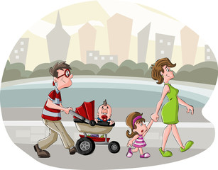 Colorful cute happy cartoon family walking in the city park