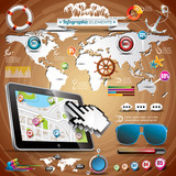 Vector summer travel infographic set with world map.