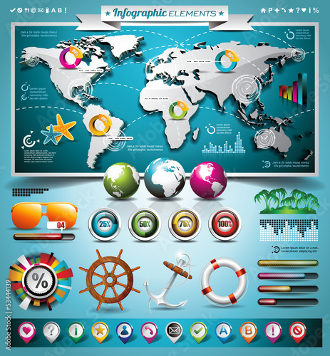 Vector summer travel infographic set with vacation elements.
