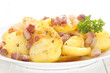 sliced roasted potato with bacon