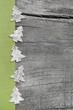 Hintergrund aus Holz mit Dekoration in Grün und Grau