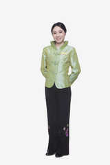Restaurant/Hotel Hostess in Traditional Chinese Clothing, Full Length