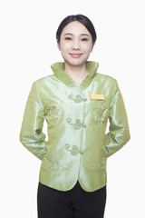 Restaurant/Hotel Hostess in Traditional Chinese Clothing, Hands Behind Back