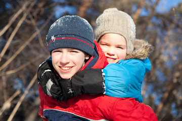 Happy children in winterwear