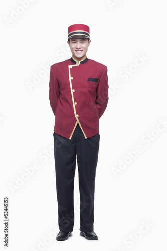 Portrait of Bellhop, full length, studio shot