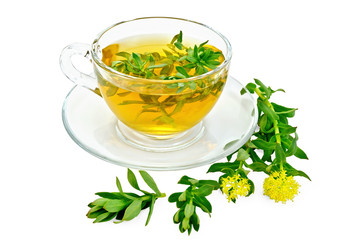 Herbal tea with Rhodiola rosea in a glass cup