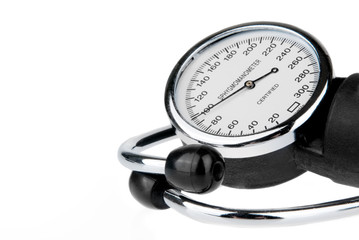 Sphygmomanometer and stethoscope isolated on white