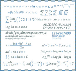 Mathematical symbols, numbers and letters - handwriting