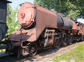 old blue steam locomotive