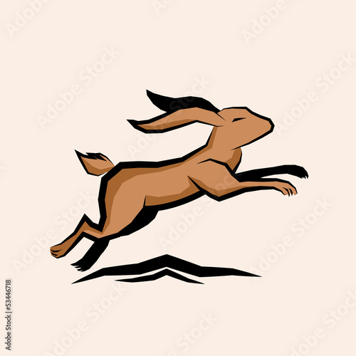 Jumping Hare Vector